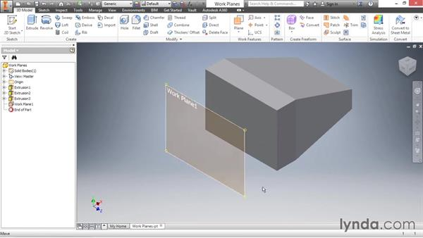 Creating offset work planes: Inventor 2016 Essential Training