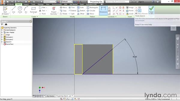 Projecting geometry: Inventor 2016 Essential Training