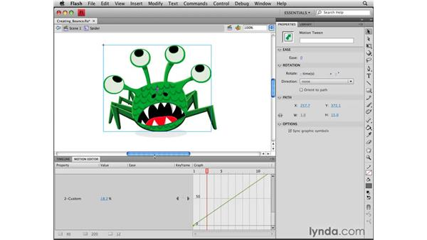 Creating bounce: Flash CS4 Professional Tools for Character Animation