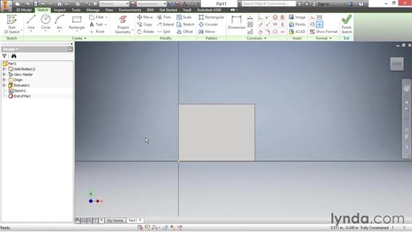 Creating a base extrusion feature: Inventor 2016 Essential Training