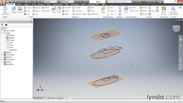 Creating complex shapes with the loft tool: Inventor 2016 Essential Training