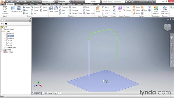 Creating a sweep feature: Inventor 2016 Essential Training
