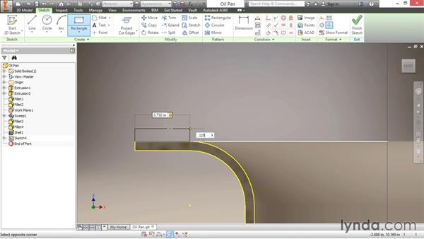 Creating a sweep feature with model edges: Inventor 2016 Essential Training
