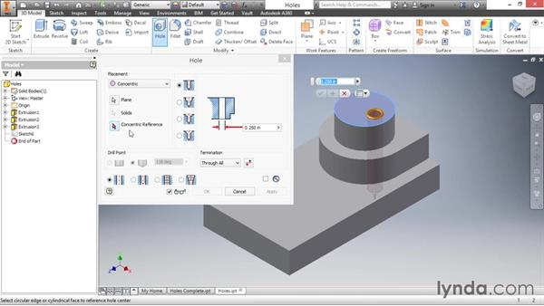 Adding placed holes: Inventor 2016 Essential Training