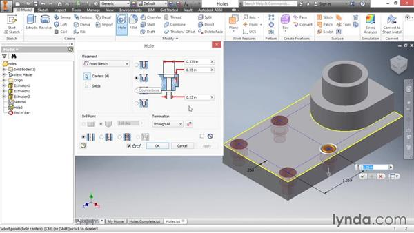 Adding sketched holes: Inventor 2016 Essential Training