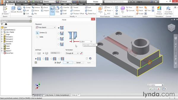 Adding threaded holes: Inventor 2016 Essential Training