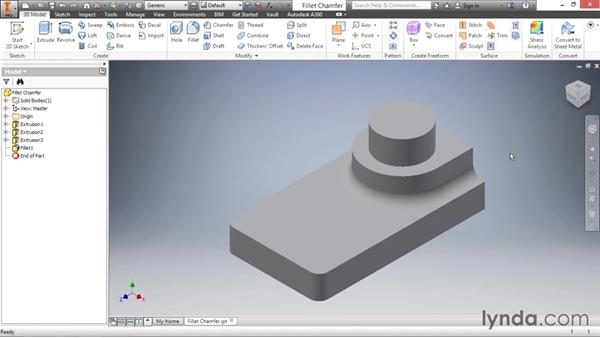 Modifying edges with the fillets and chamfers: Inventor 2016 Essential Training