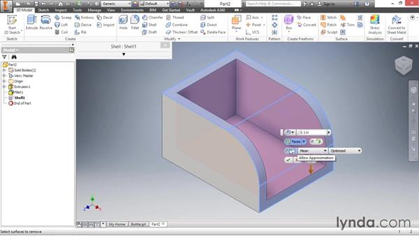 Hollowing parts with the shell feature: Inventor 2016 Essential Training