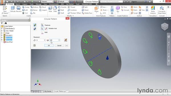 Creating circular feature patterns: Inventor 2016 Essential Training