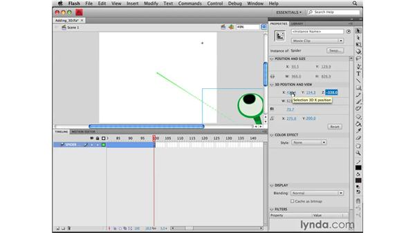 Adding 3D animation to a spider: Flash CS4 Professional Tools for Character Animation