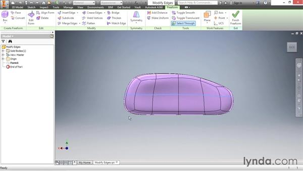 Inserting and modifying edges: Inventor 2016 Essential Training
