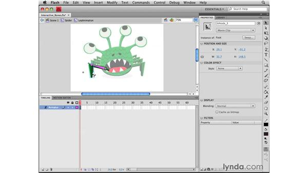 Creating interactive bones: Flash CS4 Professional Tools for Character Animation