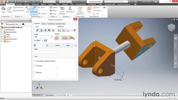 Angle constraint: Inventor 2016 Essential Training