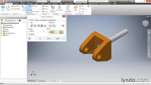 Insert constraint: Inventor 2016 Essential Training