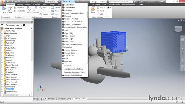 Adding materials to parts in an assembly: Inventor 2016 Essential Training