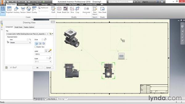 Placing base views and projected views: Inventor 2016 Essential Training