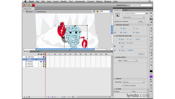 Creating shadows with masks: Flash CS4 Professional Tools for Character Animation