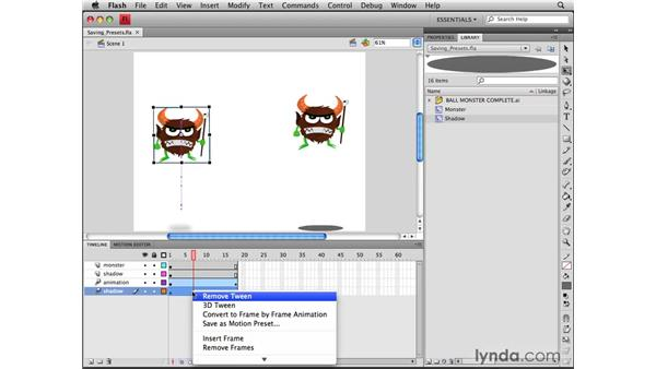 Saving motion presets: Flash CS4 Professional Tools for Character Animation