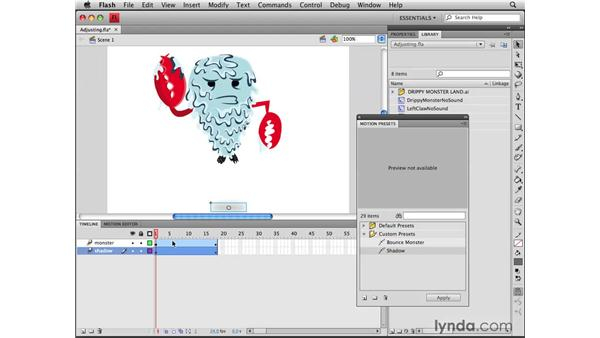 Applying and adjusting motion presets: Flash CS4 Professional Tools for Character Animation