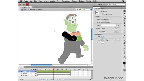 Adding body movement: Flash CS4 Professional Tools for Character Animation