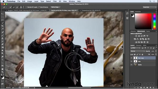 Using the Quick Selection tool to select the subject: Photographing for Compositing in Photoshop