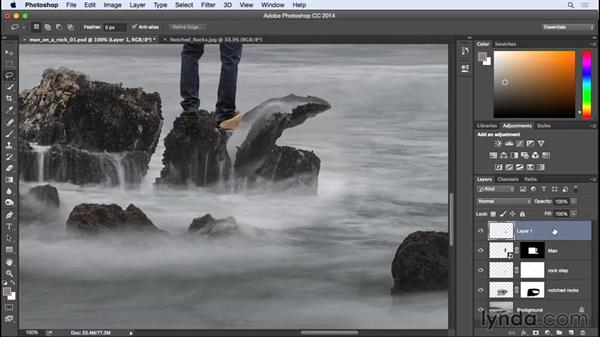 Modifying rocks for a realistic look: Photographing for Compositing in Photoshop