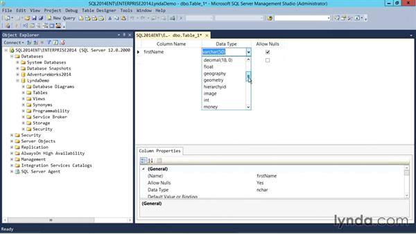 Creating a table using Managment Studio: SQL Server 2014 Essential Training