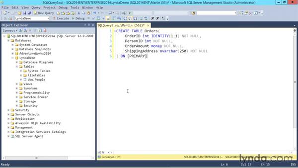 Creating a table using T-SQL: SQL Server 2014 Essential Training