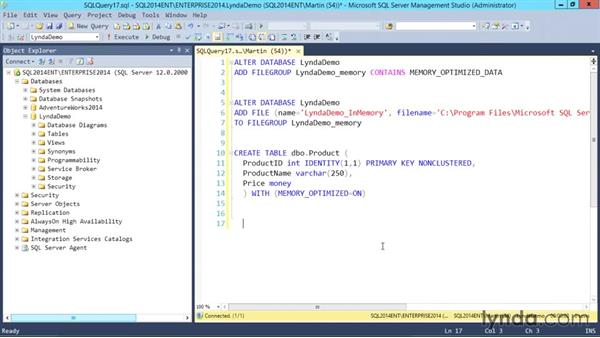 In memory tables: SQL Server 2014 Essential Training