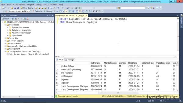 Basic SELECT statement: SQL Server 2014 Essential Training