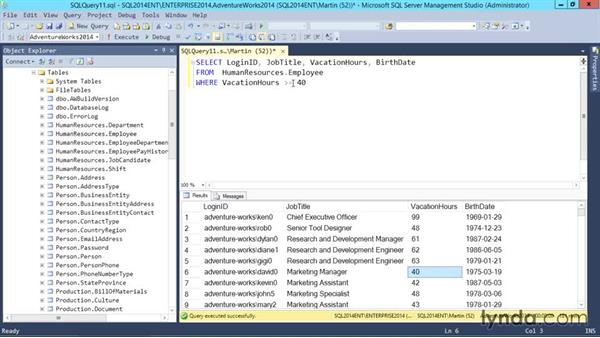 Filtering results with a WHERE clause: SQL Server 2014 Essential Training
