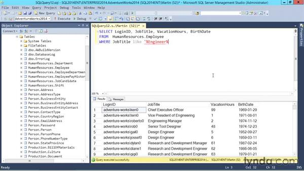 Using wildcards in a WHERE clause: SQL Server 2014 Essential Training