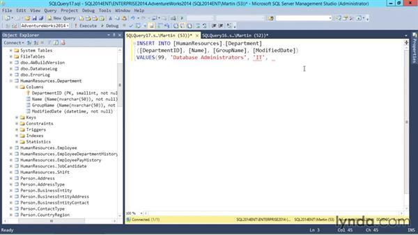 INSERT statements: SQL Server 2014 Essential Training