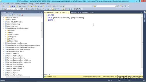 DELETE statements: SQL Server 2014 Essential Training