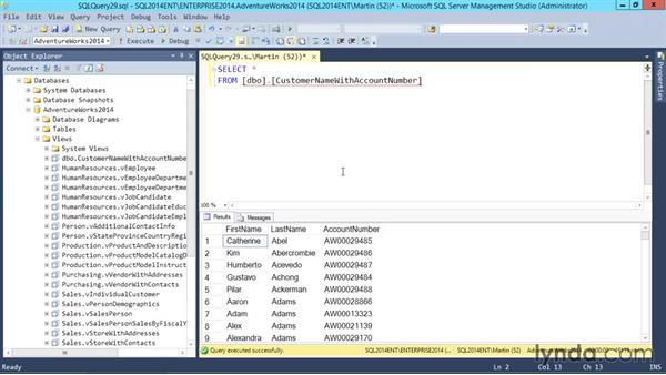 Creating a view: SQL Server 2014 Essential Training