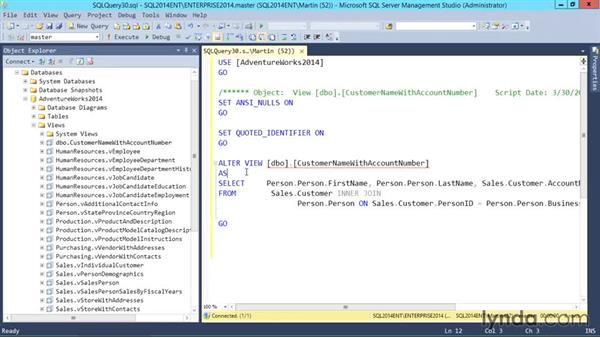 Understanding advanced options of views: SQL Server 2014 Essential Training