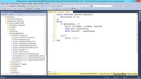 Parameterized stored procedures: SQL Server 2014 Essential Training