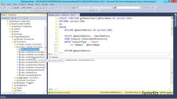 Scalar functions: SQL Server 2014 Essential Training