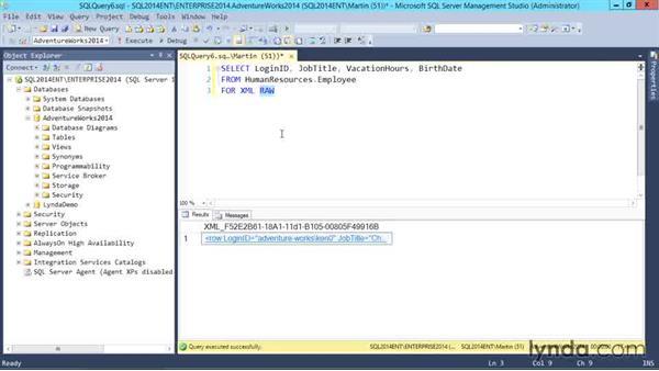 Writing queries to return XML: SQL Server 2014 Essential Training