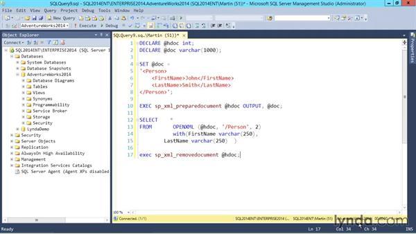 Shredding XML: SQL Server 2014 Essential Training