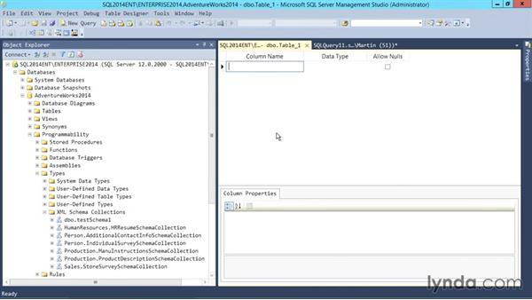 Working with XML schemas: SQL Server 2014 Essential Training