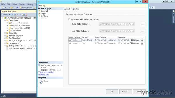 Basic restore: SQL Server 2014 Essential Training