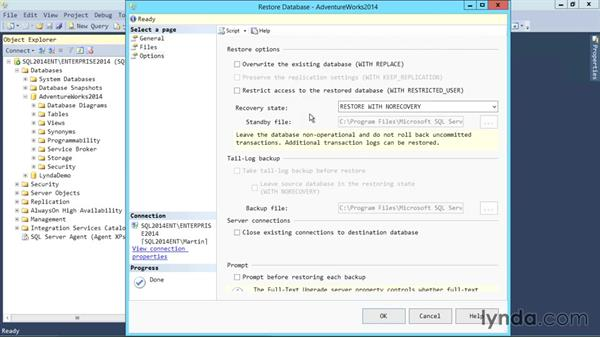 Differential backup and restore: SQL Server 2014 Essential Training