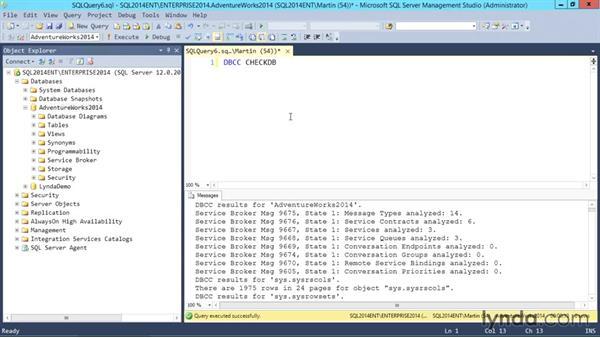 Using DBCC: SQL Server 2014 Essential Training