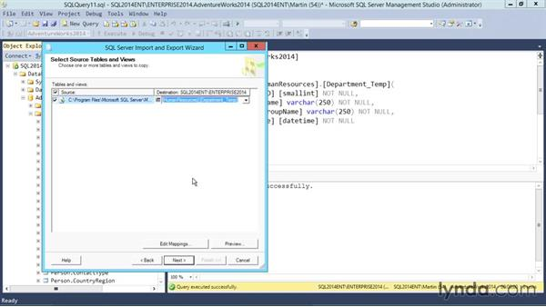Importing data: SQL Server 2014 Essential Training