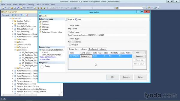Creating an index: SQL Server 2014 Essential Training