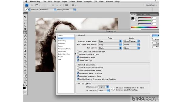 Interface preferences: Photoshop CS4 for Photographers