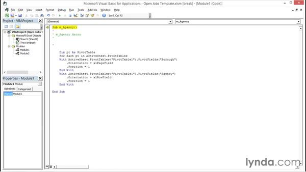 Editing VBA code: Creating Interactive Dashboards in Excel 2013