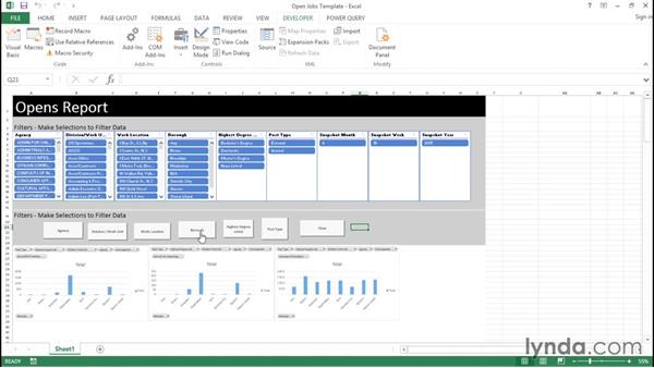 Inserting control buttons: Creating Interactive Dashboards in Excel 2013
