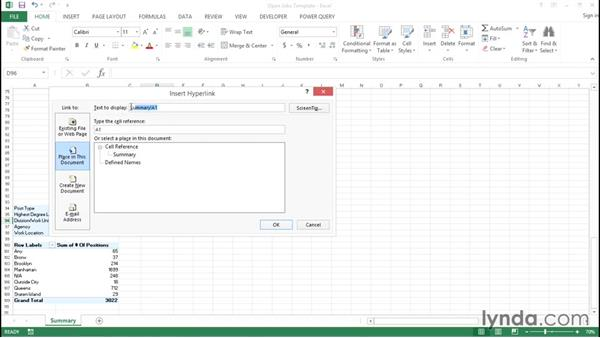Inserting hyperlinks within a report: Creating Interactive Dashboards in Excel 2013